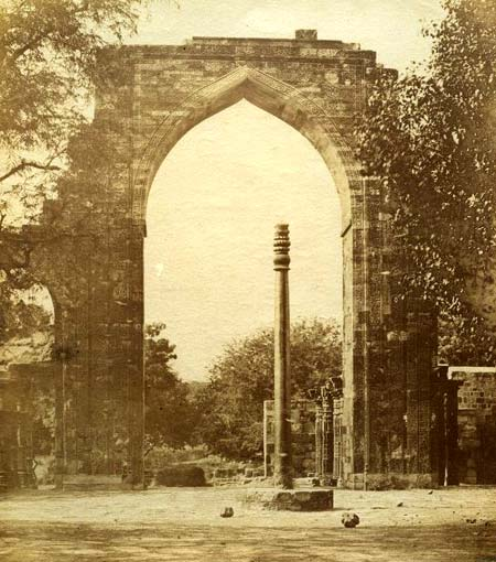 Arch and Iron Pillar near Qutub Minar - Delhi - 1850