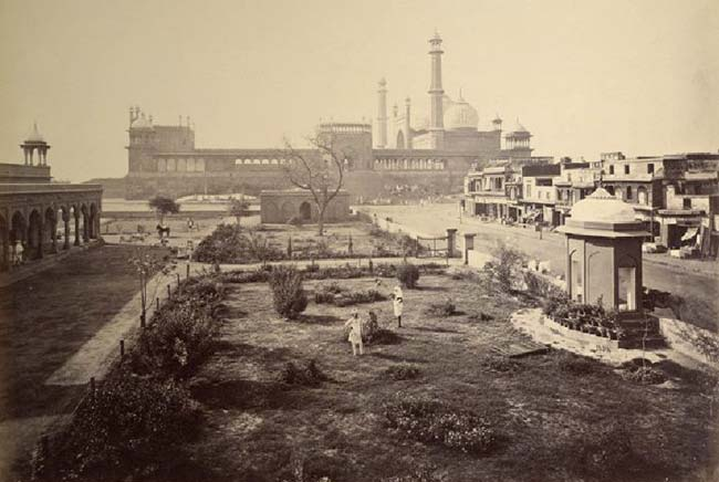 Distant View of the Jami (Jama) Masjid, Delhi - 1865