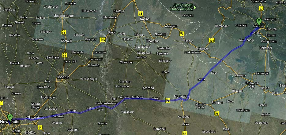 DELHI TO NAINITAL ROUTE MAP