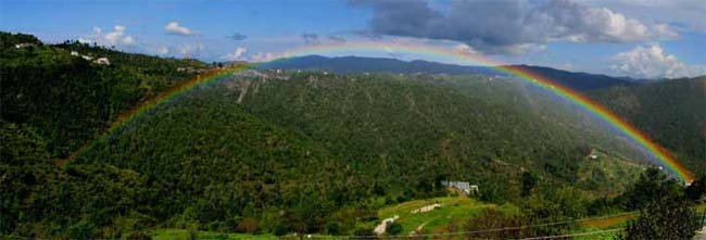 Mukteshwar :- Himalayan peaks glittering in the distance