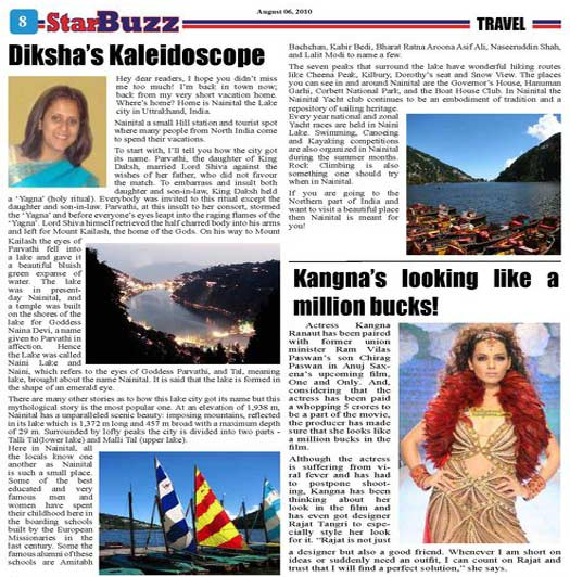 NAINITAL IN STAR BUZZ WEEKLY TORONTO